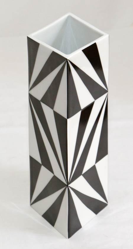 design porzellan vase blumenvase schwarz weiss. Black Bedroom Furniture Sets. Home Design Ideas