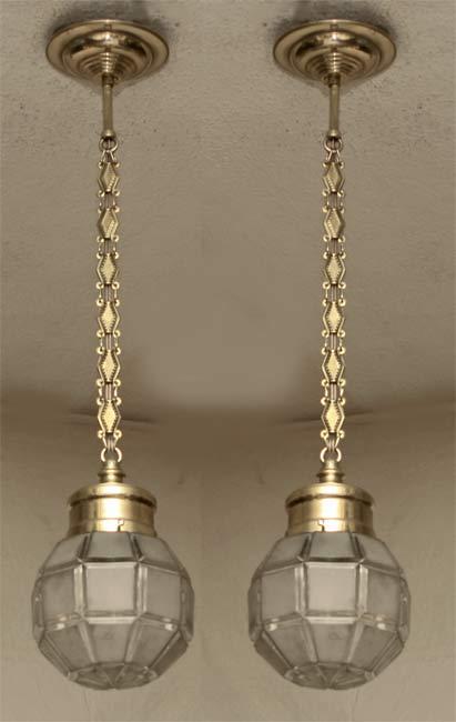 paar art deco lampen messing h ngelampen jugendstil. Black Bedroom Furniture Sets. Home Design Ideas