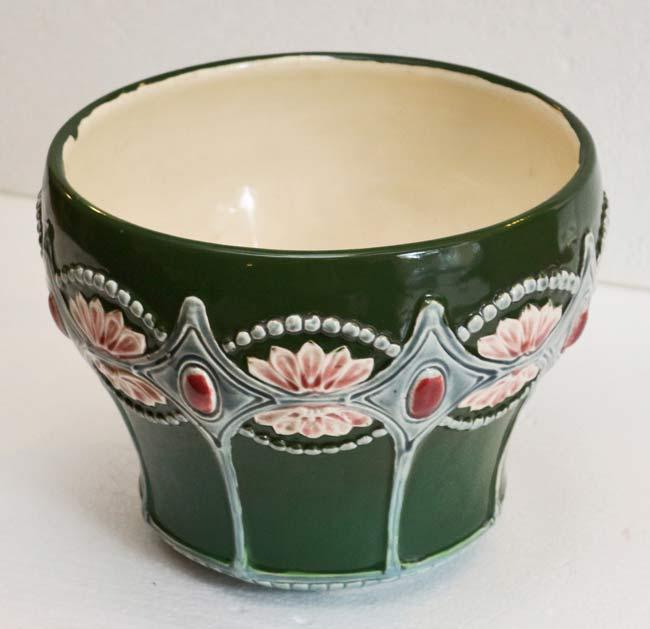Jugendstil keramik blumentopf cachepot blumenuebertopf for Blumentopf keramik