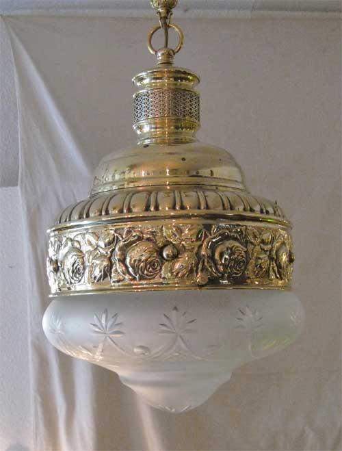 Jugendstil Lampe Messing Luster Nostalgiecorner Art Deco